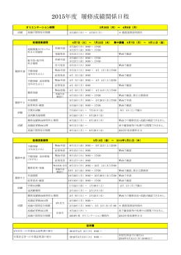 2015年度 履修成績関係日程