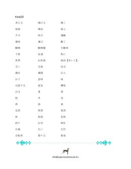 Kanji20 考える 開ける 開く 部屋 開店 屋上 夕方 両方 運動 運命 運ぶ