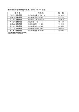 市内の動物病院一覧(PDF:13.8KB)