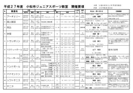 平成27年度 小松市ジュニアスポーツ教室 開催要項