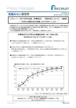 2015年3月度(卒業時点) 内定状況について