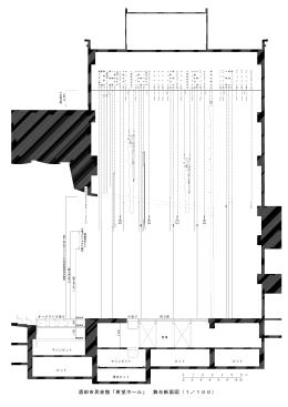 酒田市民会館「希望ホール」 舞台断面図(1/100)