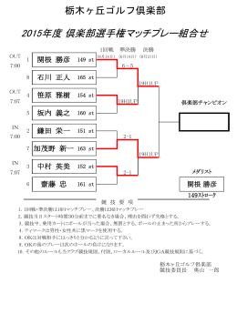 2015年度 倶楽部選手権マッチプレー組合せ