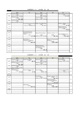 成 蹊 国 際 コ ー ス 2015年度 前 期 成 蹊 国 際 コ ー ス 2015年度 後
