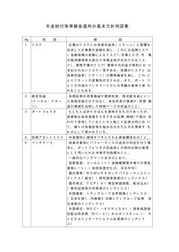 年金給付等準備金運用の基本方針用語集