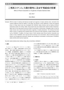 二相系ステンレス鋼の靭性に及ぼす相組成の影響(PDF