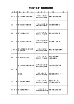 農業祭日程表をご覧ください - JA埼玉中央ホームページ