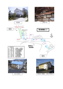 曳き家風景 曳 き家移動ルート 長野県立 須坂病院 移動前の繭蔵。右側