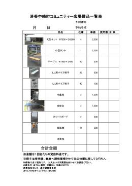 月 日 済美中崎町コミュニティー広場備品一覧表 合計金額