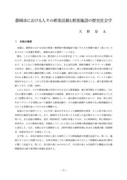 静岡市における人々の娯楽活動と娯楽施設の歴史社会学 (天野景太)