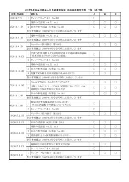 2014年度公益社団法人日本図書館協会 施設会員配付資料 一覧 (送付