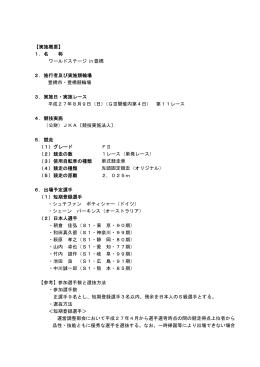 ワールドステージin豊橋 実施概要・出場予定選手