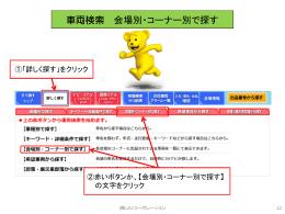 車両検索(会場別・コーナー別で探す) (P.12~14)