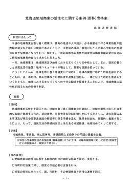 北海道地域商業の活性化に関する条例(仮称)骨格案