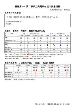 福島第一・第二原子力発電所付近の気象情報