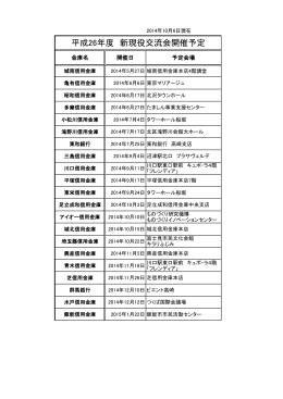 平成26年度 新現役交流会開催予定
