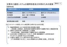 災害向け通信システムの運用形態及び共用のための提案