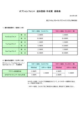 オプションフォント 追加登録・作成費 価格表