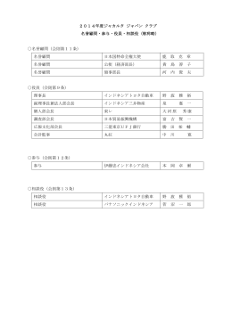 2014年度ジャカルタ ジャパン クラブ 名誉顧問・参与・役員・相談役(敬称
