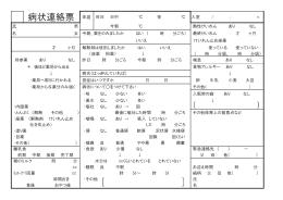 病状連絡票 体温 昨日 日中 ℃ 夜 ℃ 入室 /