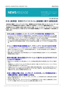 日本と新興国 若者のライフスタイルと価値観に関する調査結果