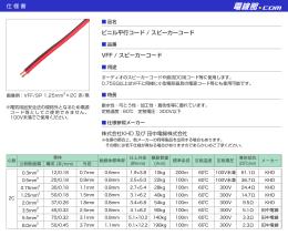 仕様書 ビニル平行コード / スピーカーコード VFF / スピーカーコード