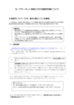 セーフティネット保証にかかる認定申請について