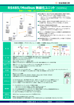 RS485無線化ユニットカタログ