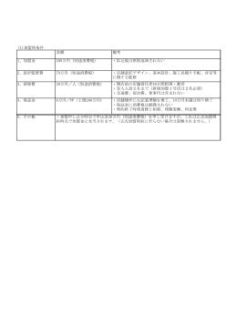 加盟時条件詳細(表)