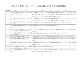 平成27年第1回(3月)知多市議会定例会提出議案概要
