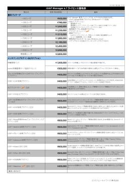 LDAP Manager 6.7 ライセンス価格表