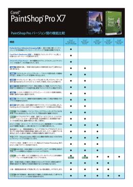 PaintShop Pro バージョン間の機能比較