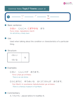 Use Structure Basic sentence Examples Commentary 1 ふるい じんじゃ