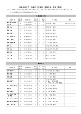 豊田工業大学 平成 27 年度後期 開設科目一覧表《学部》 工学基礎科目