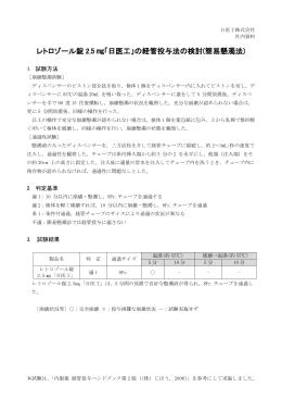 レトロゾール錠 2.5 「日医工」の経管投与法の検討(簡易懸濁法)