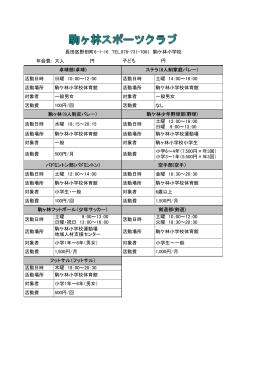 駒ヶ林スポーツクラブ