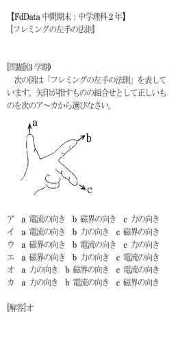 【FdData中間期末:中学理科2年】 [フレミングの左手の法則] [問題](3学期