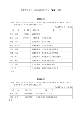 公益財団法人台東区芸術文化財団 役員 名簿 理事名簿 監事名簿