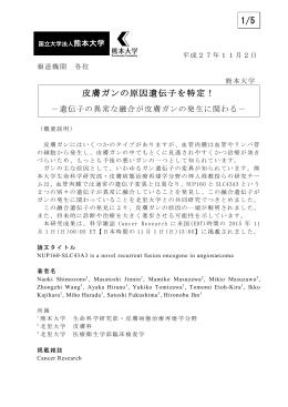 皮膚ガンの原因遺伝子を特定! 1/5