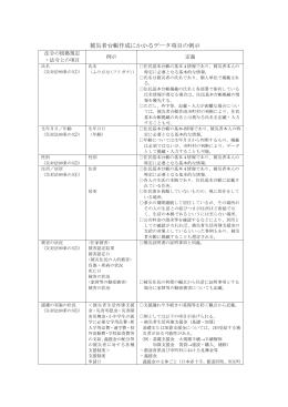 被災者台帳の作成に係るデータ項目の例示