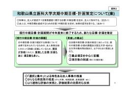 和歌山県立医科大学次期中期目標・計画策定について (案)
