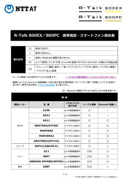 R-Talk 800EX/800PC 携帯電話・スマートフォン適合表(au)