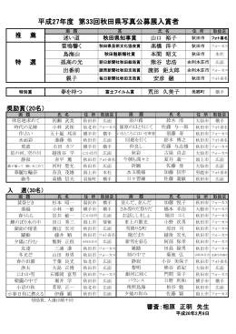 平成27年度 第33回秋田県写真公募展入賞者一覧 PDF