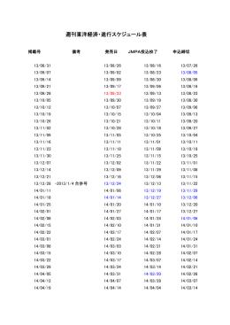 週刊東洋経済・進行スケジュール表