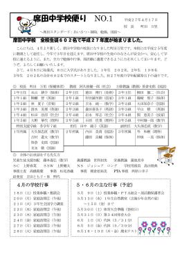 席田中学校便り NO.1