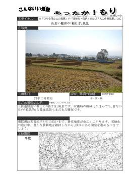 ③撮影日 ④旬・見頃の時期 山沿い棚田の「稲はざ」風景 ①タイトル ②