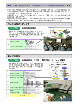 半導体製造基礎技術及び評価・テスト・解析技術教育講座