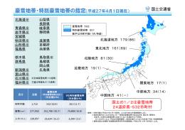 豪雪地帯・特別豪雪地帯の指定(平成27年4月1日現在)