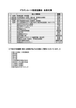 会員リスト(PDF) - ドラゴンルート推進協議会