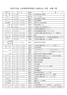 平成27年度 山形県高等学校新人体育大会 日程・会場一覧